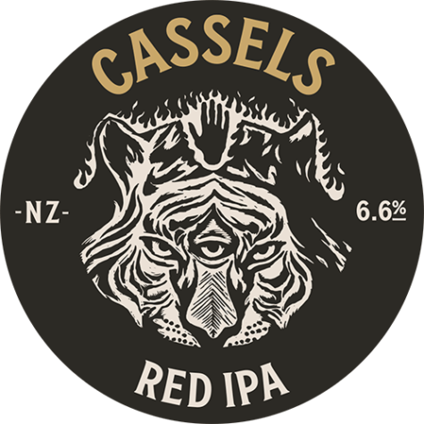 Red IPA tap beer badge - Cassels Craft Beer