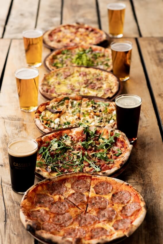 4 pizzas and beer at cassels restaurant